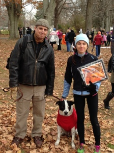 Winner's prizes: a man, a dog and a plaque.